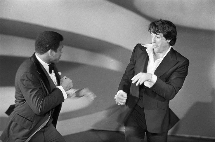 MUHAMMAD ALI AND SYLVESTER STALLONE ACADEMY AWARDS 1977