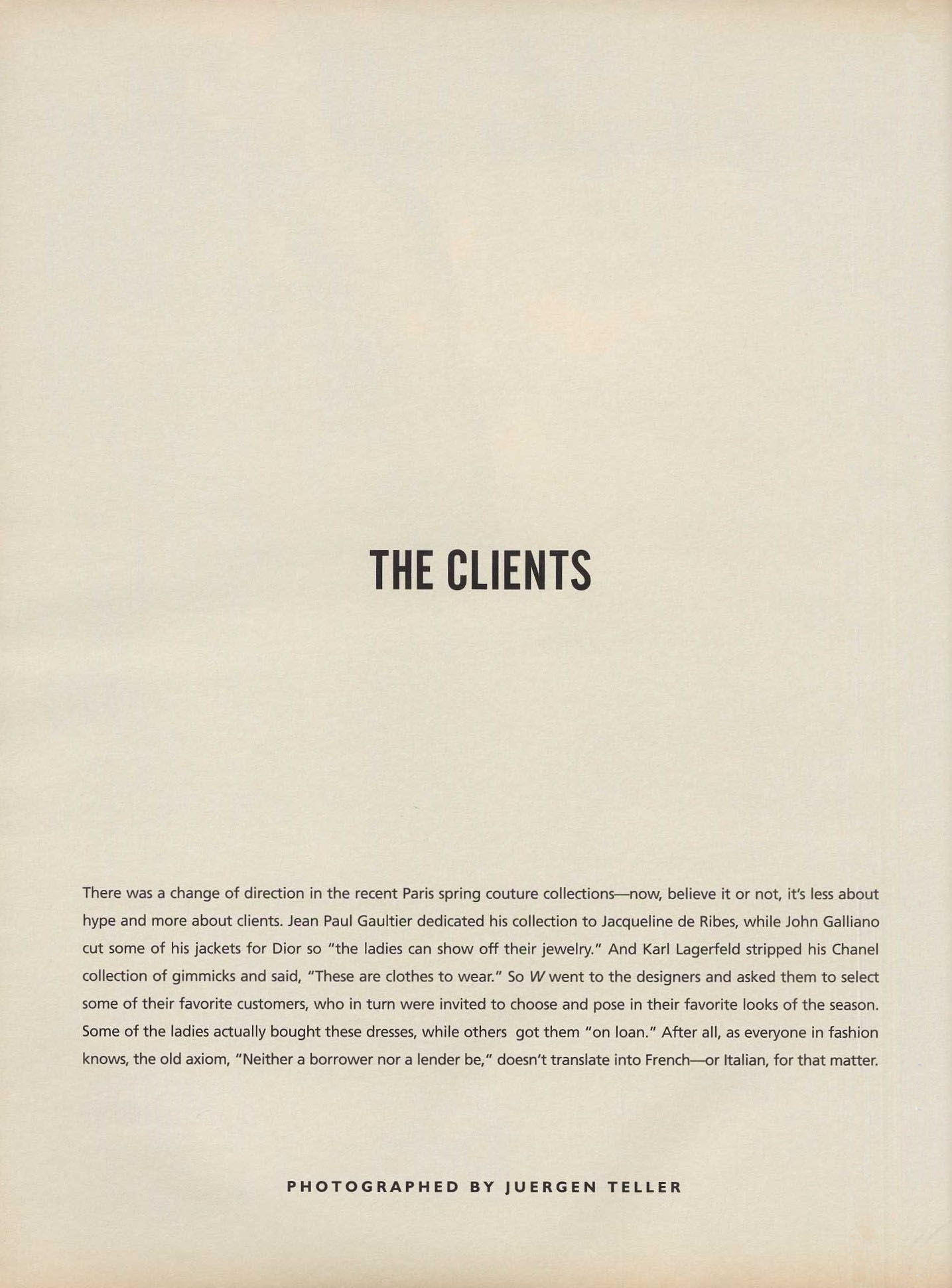 the clients photography juergen teller w march 1999 1