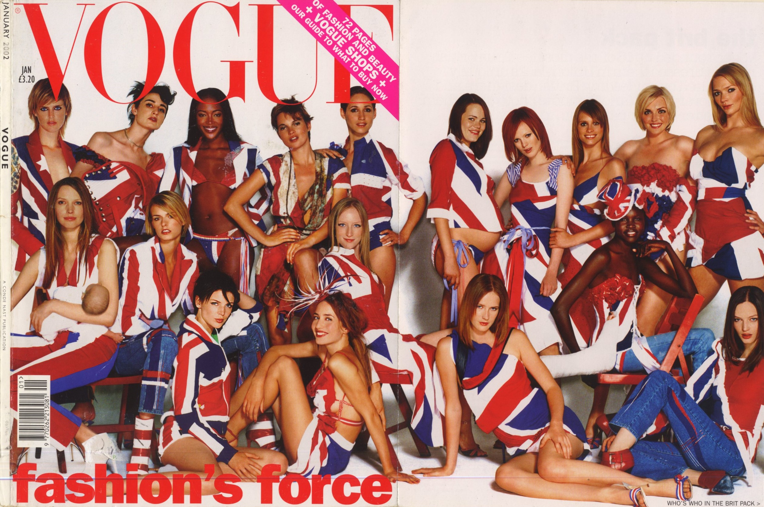 the brit pack uk vogue january 2002 cover photography mario testino