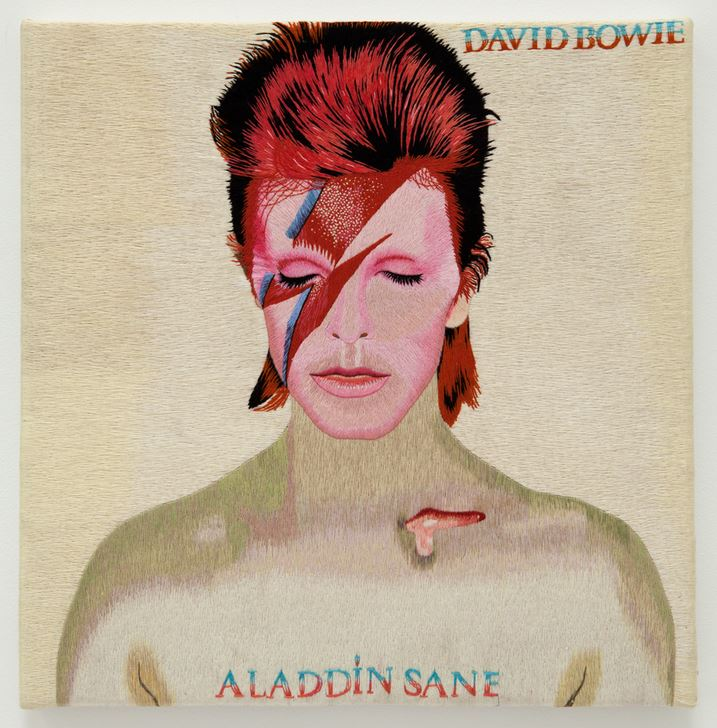 maurizio vetrugno david bowie aladdin sane 2003 hand embroidered silk thread on canvas