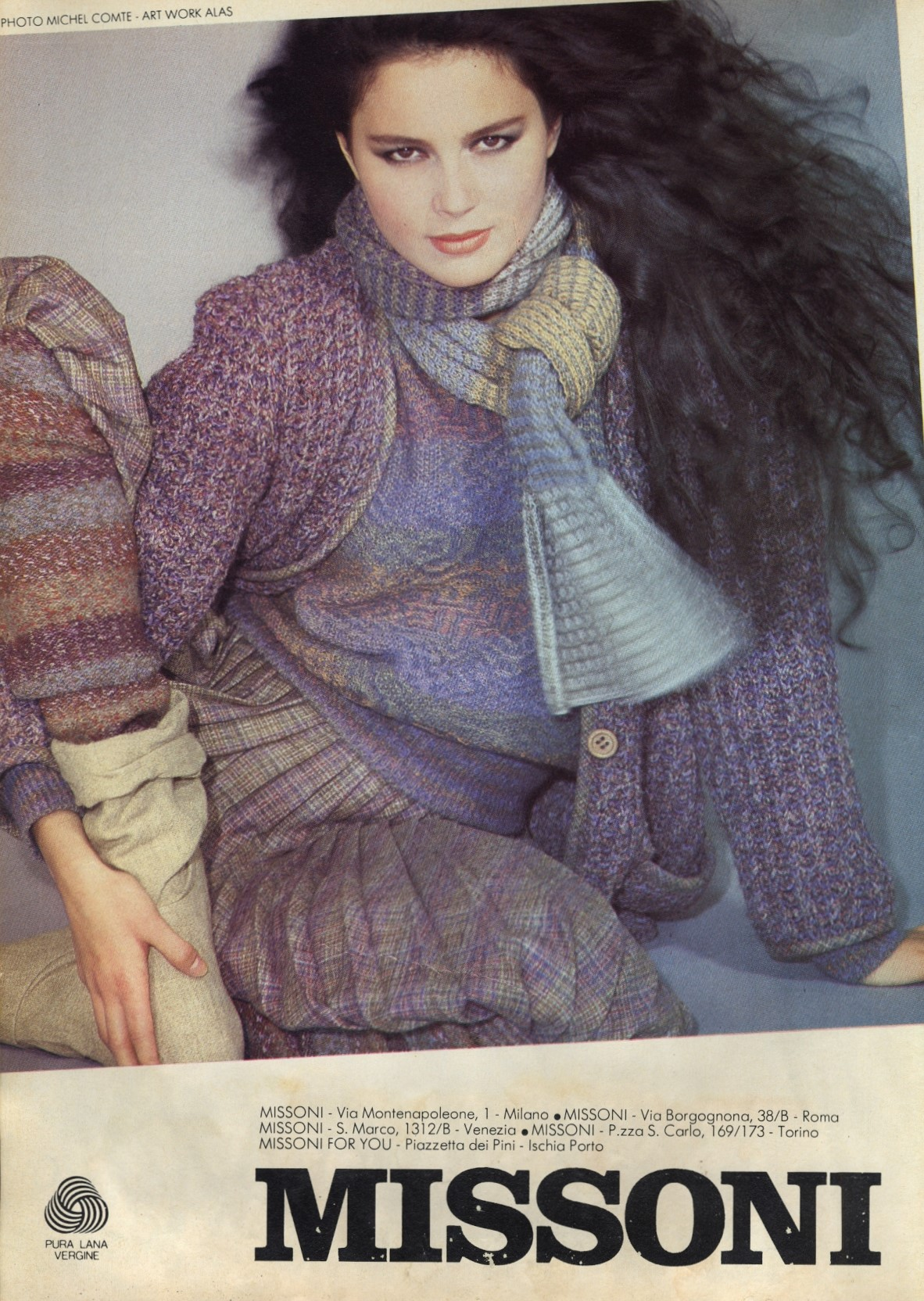 missoni ad campaign photography michel comte cosmopolitan italy october 1981